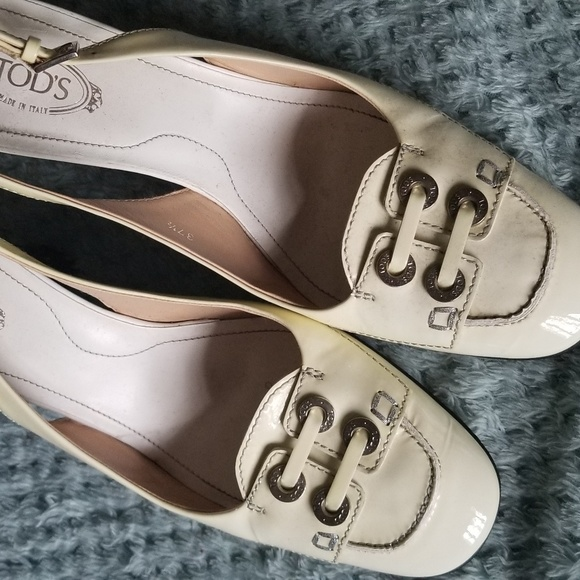 Tod's Shoes - Tod's Ivory Patent Leather Slingbacks, 7.5